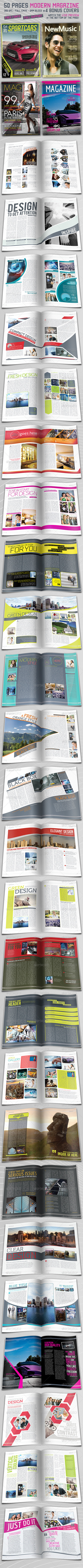 50 Page Modern Magazine Indesign + 4 Covers